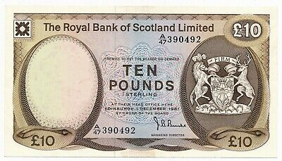 1981 The Royal Bank of Scotland 10 Pounds  Crisp EF Note - Not Listed Date