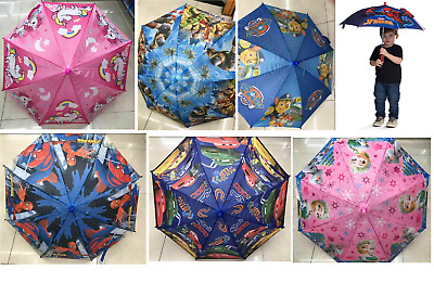 Kids Character Umbrella Paw Petrol Peppa Pig Disney Marvel Boys & Girls School