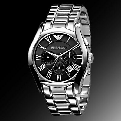New Genuine Emporio Armani Ar0673 Stainless Steel Black Dial Chrono Mens Watch