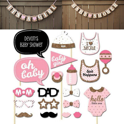 20pc Baby Shower Girl Photo Booth Props Gender Reveal Selfie New Born Party Game