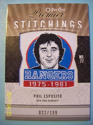 "2009-10 O-Pee-Chee ""Premier Stitchings"" # PS-PE Phil Esposito!  022/199"