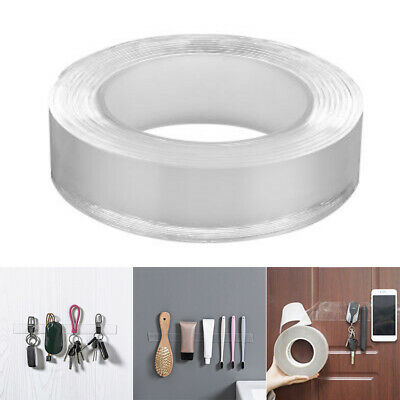 Nano Invisible Gel Pad 1/3/5M DOUBLE SIDED CLEAR STICKY Adhesive Tape Reusable