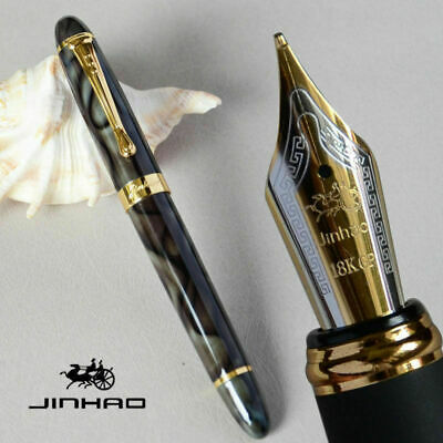 Jinhao X450 Marble Gren And Fountain Pen 0.7mm Broad Nib 18KGP Golden Trim
