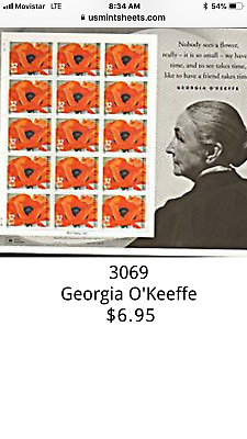 3069 Georgia O'Keeffe Red Poppy. Sheet of 15-32 cent US postage stamps.