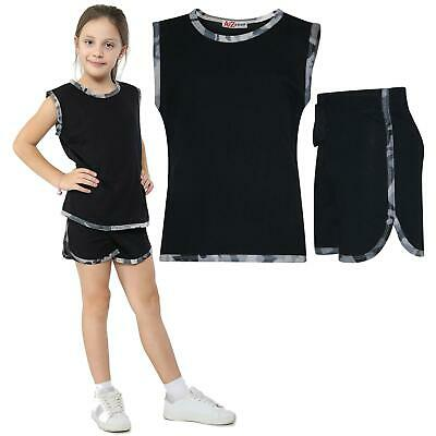 Kids Girls 100% Cotton Camouflage Charcoal Taped Vest Top Summer Shorts Set 5-13