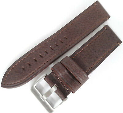 Mens Brown Distressed Saddle Leather 22mm LONG Watch Band Silver Tone Buckle