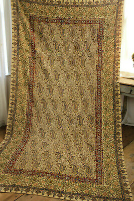 Vintage 1940's Block Printed Persian Kalamkari Paisley Cloth Wall Hanging