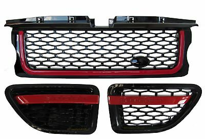 Range Rover Sport Grille + side vent Autobiography style upgrade kit Black & Red