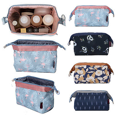 Women Cosmetic Bag Makeup Case Floral Travel Toiletry Pouch Organizer Handbag