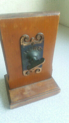 Vintage Metal Hotel  Desk Bell - On Wooden Stand- Good Working Order
