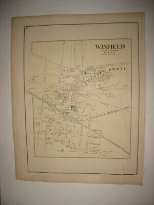 VINTAGE ANTIQUE 1873 WINFIELD now WOODSIDE QUEENS NEW YORK HANDCOLORED MAP RARE