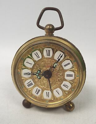 Vintage Brass WIND UP TRAVEL CLOCK West Germany - Spares/Repairs - SA1