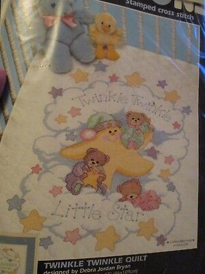Dimensions Nursery Twinkle Twinkle Quilt Crib Cover Kit Stamped 3171