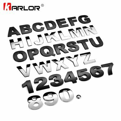 Car Letters 3d Auto Chrome Silver Black Numbers Emblem Truck Decal Sticker Badge
