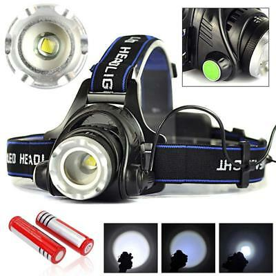 2000LM Zoomable  T6 LED Headlamp Rechargeable Headlight + 18650 Battery AE