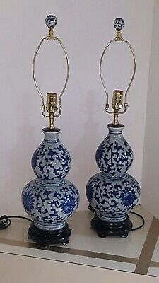Pair of Vintage Chinese Blue & White Crackle Double Gourd Vase Lamps Floral