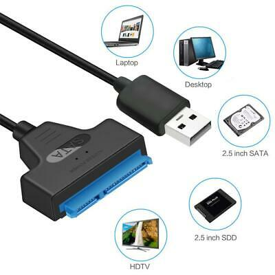 USB 2.0 to SATA 22pin Adapter Converter Cable for 2.5in HDD SSD Hard Drive Case
