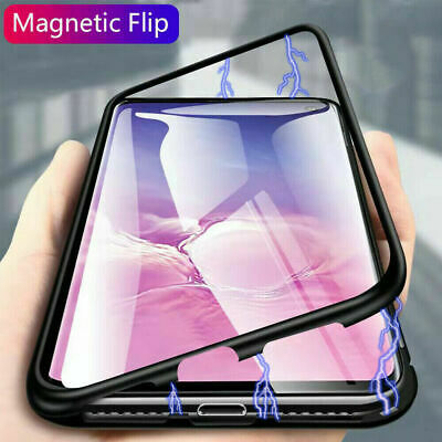 For Samsung Galaxy S10e Plus 360° Full Magnetic Metal Case Tempered Glass Cover