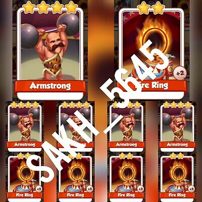 5 Fire ring & 5 x Armstrong :- Coin Master Cards ( Fastest Delivery )