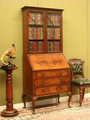 ANTIQUE BURR WALNUT BUREAU BOOKCASE ~ DESK, STORAGE + DISPLAY BOOKSHELVES c1920s
