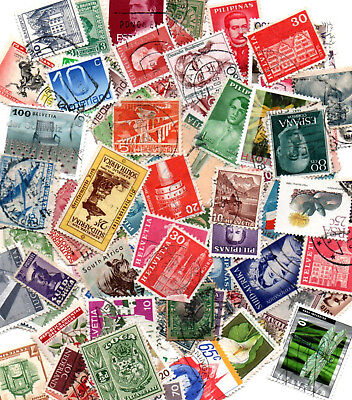 100 x Different stamps from various countries around the world