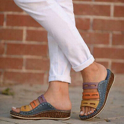 AU Womens Summer 3 Colors Stitching Sandals Slip-on Flat Beach Shoes Breathable
