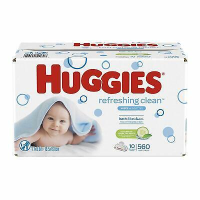 Hot HUGGIE Refreshing Clean Scented Baby Wipes, Hypoallergenic, 56 pcs x 10 Pack