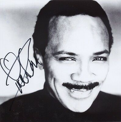 """Quincy Jones genuine autograph 8""""x8"""" photo signed In Person musician producer"""