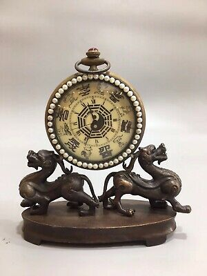 Chinese Old copper double Dragon Gossip Mechanical clock table Home decoration