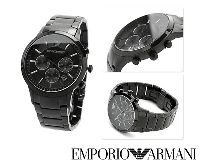 New Genuine Emporio Armani Ar2453 Black Steel Chrono Mens Watch Rrp £359