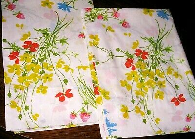 Lot 2 (PAIR) Wild Flower Floral Standard Size Pillowcases Made in USA Fieldcrest