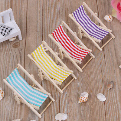 Miniature Furniture Sunbathing Toy Folding Stripe Deck Dollhouse Beach Chair