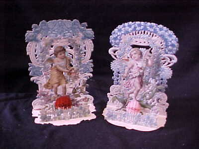 2 Lg Victorian Valentine 3D Pop Up Cards Ornate Made In Germany Cherubs Angels