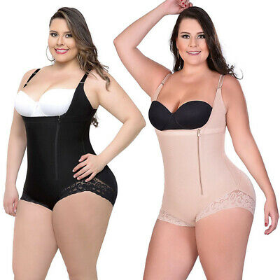 Plus Size Womens Shapewear Bodycon Bodysuits Sleeveless Mesh Zip Jumpsuit Romper