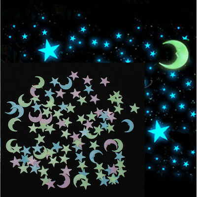 100x 3D Glow In The Dark Moon Stars Wall Sticker Decal Baby Kids Nursery Room