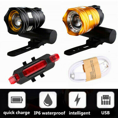 15000LM XM-L T6 LED MTB Bicycle Rear Light Bike Front Headlight USB Rechargeable