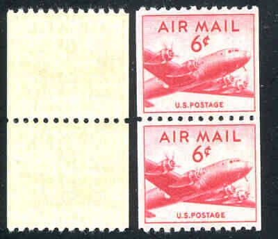 1949 US Stamps Scott  C41 Horizontal Perf 10 Coil Pair Mint Never Hinged