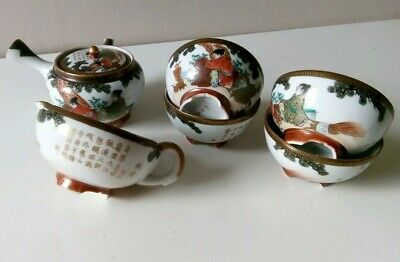 Antique Japanese Meiji kutani four cup tea-pot set artist signed
