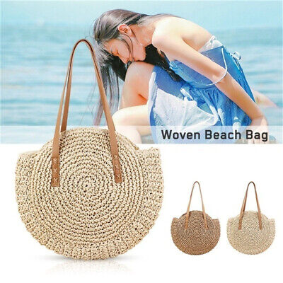 Women Woven Handbag Bags Totes Beach Straw Woven Summer Rattan Round Basket Bag