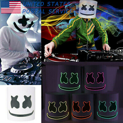 DJ MarshMello LED Mask Full Head Helmet Halloween Easter Cosplay Bar Music Prop