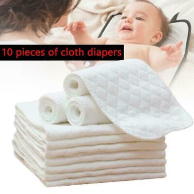 10PCS Cotton Cloth Baby Diapers Inserts Liners 3 Layers Newborn Nappy Reusa I0A6