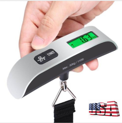50KG/10G Portable Travel LCD Digital Hanging Luggage Scale Electronic Weight US