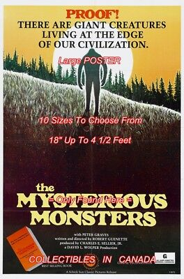 """MYSTERIOUS MONSTER 1975 Bigfoot GIANT CREATURES = POSTER 10 SIZES 18"""" - 4.5 Feet"""