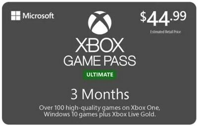 Xbox Game Pass Ultimate, 3 Month Membership, Xbox One/Win 10 PC DIGITAL DOWNLOAD