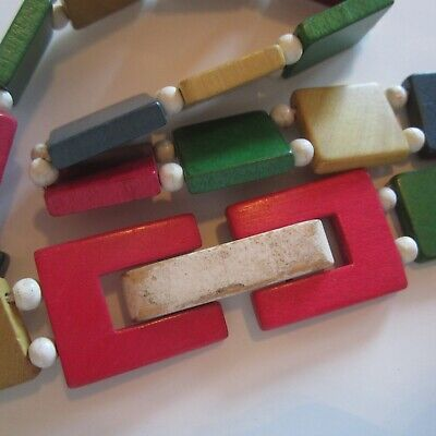 RARE 1930s Painted Dyed Wood Wooden Stretch Novelty Belt Ladies Vintage Fashion