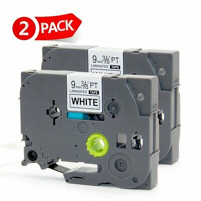 2 Packs Replace Brother P-touch TZe-221 Black on White Laminated 12mm Label Tape
