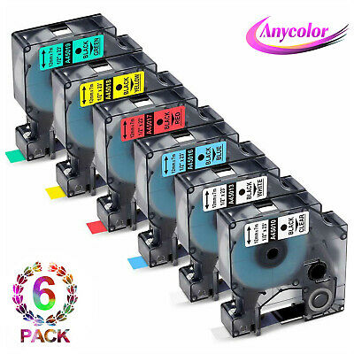 6PK Compatible with DYMO Label Tape Cassette 45010 45013 45016 45017 45018 45019