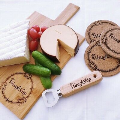 Personalised Gift Pack Bottle Opener CheeseBoard chopping Board Coaster Engraved