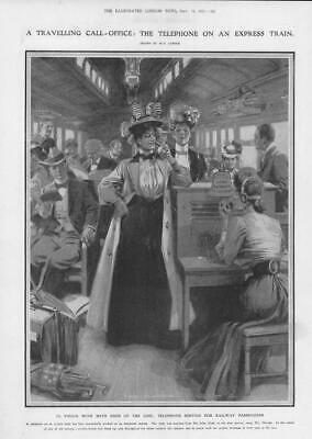 1907 Antique Print - AMERICAN EXPRESS RAILWAY Travelling Telephone Service (195)