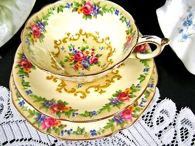 """Paragon Tea Cup And Saucer Minuet Pattern Chintz Rose Trio 6 """" Wide Teacup"""